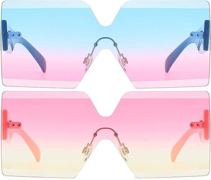 oversized rimless square sunglasses fashion sunglasses red pink black copper yellow sunglasses kehani shades