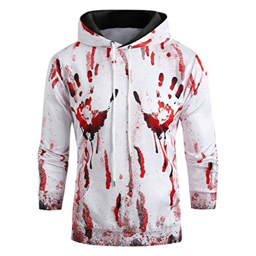 YESWOMAN Funny Halloween Sweatshirt for Women Men Couples Blood Print Long Sleeve Hoodie Sweatshirt Pullover