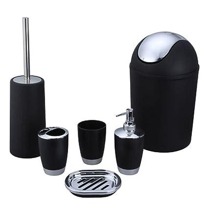benhai 6 piezas Juego de accesorios de baño de plástico cuarto de baño loción dispensador de