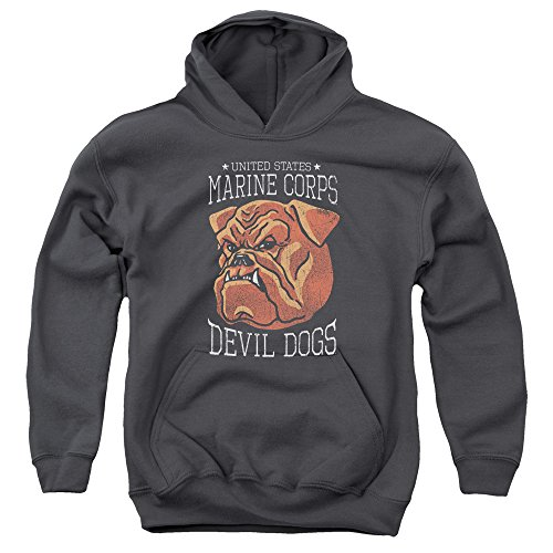 Trevco US Marine Corps Devil Dogs Unisex Youth Pull-Over Hoodie For Boys and (Devil Kids Hoodie)