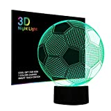 Tiscen 3D Illusion Night Light, LED Table Desk Lamps, Football Horse Wolf Nightlights, 7 Colors USB Charge Lighting Bedroom Home Decoration for Kids Christmas Halloween Birthday Gift