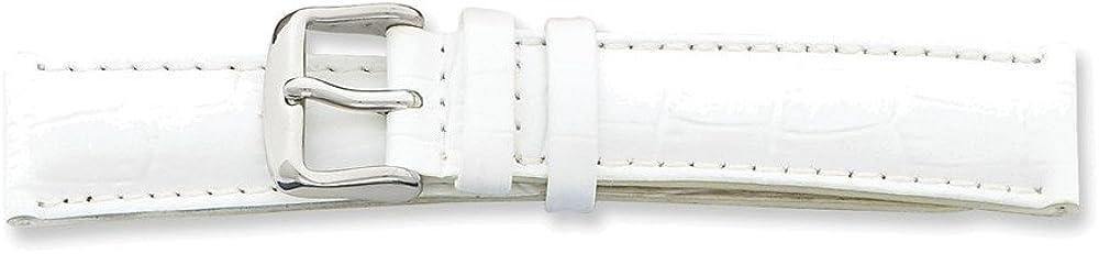 B004FNIMTY 14mm Wht Croc Grain Chrono Slvr-tone Bkle Watch Band 51eOjXO5s8L