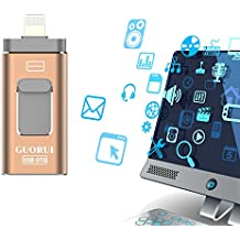 USB Flash Drive 64GB for IOS, Jump Drive External Storage, Pen-Drive Lighting Memory Stick Flash Drive Adapter Expansion, Thumb Drive Memory Storage for Apple iphone ipad ipod Android and Computers