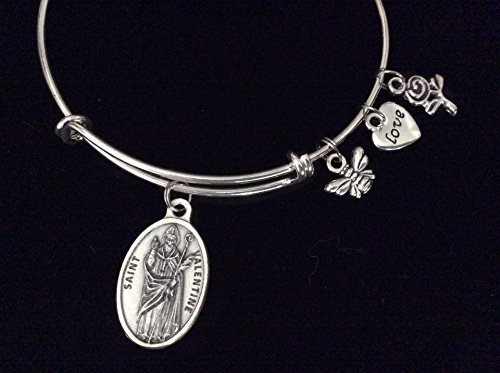 Jewelry Bracelet Bangle Vintage (Saint Valentine Expandable Charm Bracelet Inspirational Jewelry Silver Adjustable Bangle Catholic Medal Meaningful Gift Patron Saint Of Marriage and Love)