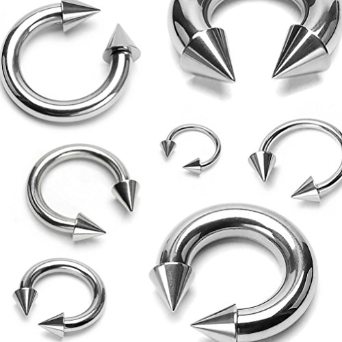 - BCN SOLD IN PAIRS Spike Top Steel Horseshoe Circular Barbell 316L Surgical Steel (4g 1/2