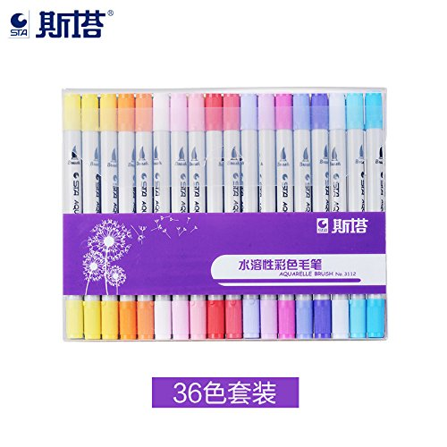 RONSHIN Artist Marking for School Drawing, Water Soluble Soft-Headed Hand Marker Pen (24 Colors)