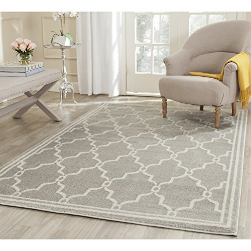 5 Square Rug (Safavieh Amherst Collection AMT414B Light Grey and Ivory Indoor/ Outdoor Square Area Rug (5' Square))