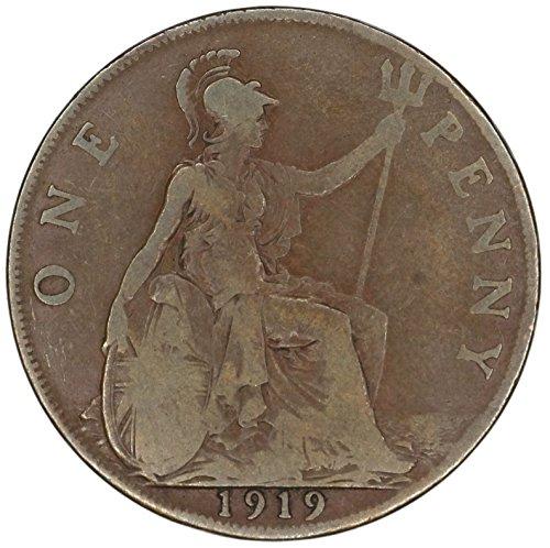 1919 UK UK George V Great Britain British Bronze Penny KM# 810 Penny FAIR