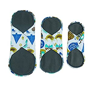 Charcoal Bamboo 8-11 Inch 3 Sizes Reusable Cloth Menstrual Pads Washable Sanitary Pads(Floral Print,Pack of 5)