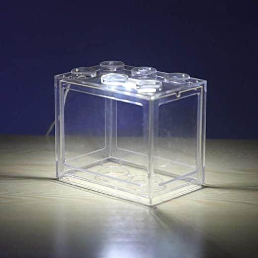 LKU Mini USB pecera pequeña pecera pecera pecera Suministros Acuario Ruidoso pecera pecera, Caja Transparente, luz Azul: Amazon.es: Productos para mascotas