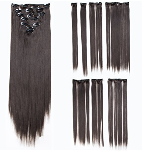 SWACC Women 22 Inches Straight Full Head 7 Separate Pieces Heat Resistance Synthetic Hair Clip in Hair Extensions (Dark ()