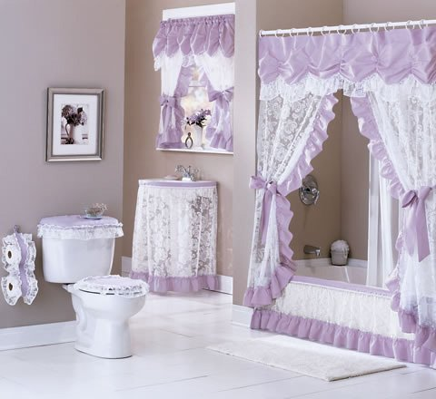 Amazoncom Maderia Lace Sink Skirt 54w X 32l Lilac Home Kitchen