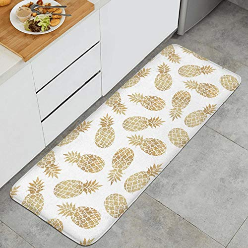 Fashion Kitchen Mat Gold Pineapple Clipart White Background Doormats Stain Resistant Entrance Rug Soft and Comfortable Touch 47.2