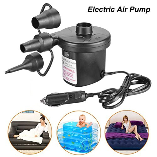 Feng Da Sheng Technology Electric Air Pump Portable Air Mattress Pump Quick-Fill Inflator with 3 Nozzles for Inflatables Raft Bed Boat Pool Toy Black by Feng Da Sheng Technology