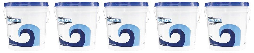 Boardwalk HURACAN40 Low Suds Industrial Powder Laundry Detergent, Fresh Lemon Scent, 40lb Pail (5-(Pack))