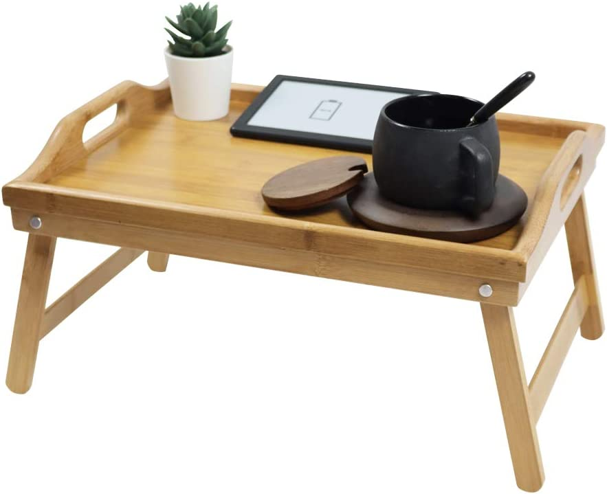 KKTONER Bamboo Bed Tray Table with Folding Legs Foldable Serving Portable Laptop Tray Snack Tray Breakfast Tray Bed Table Drawing Table