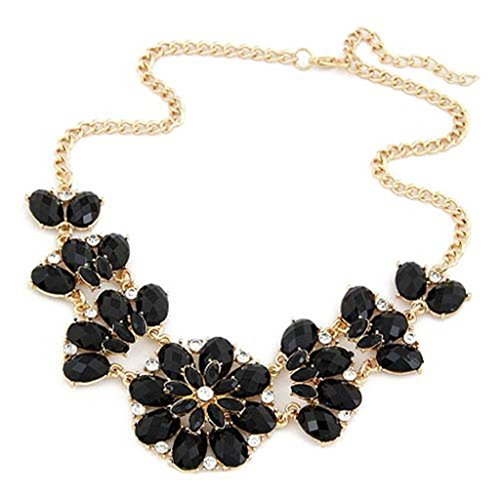 JSDY Womens Bohemia Rhinestones Flowers Pendants Fashion Jewelry Bib Necklace Black