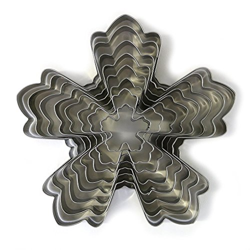 5 Petal Modern Flower Cookie Cutter 8 Piece Set by First Impressions Molds for Cake Decorating Gumpaste Flowers