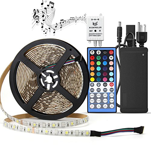LED Light Strip Kit Waterproof,SUPERNIGHT RGBW (RGB+White) Color Changing Rope Lights,16.4ft 300leds Lighting with 12V Power Adapter and Music Voice Sensor Remote Controller -