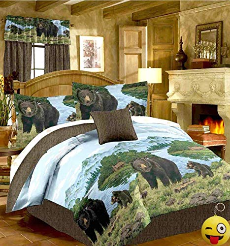 - Rustic Cabin Lodge BLACK BEAR & CUBS 8pc Comforter Set w/Sheets (Bed In A Bag) (KING SIZE)