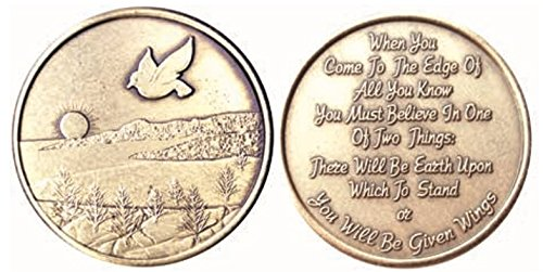 Dove Sunset - Given Wings Bronze AA (Alcoholics Anonymous) -ACA-AL-ANON - Affirmation / Birthday / Anniversary / Desire / Medallion / Coin / Chip