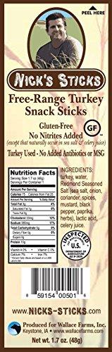 Nick's Sticks Free Range Turkey Snack Sticks - Gluten Free - No Antibiotics or Hormones (25 Packages of 2 Sticks)