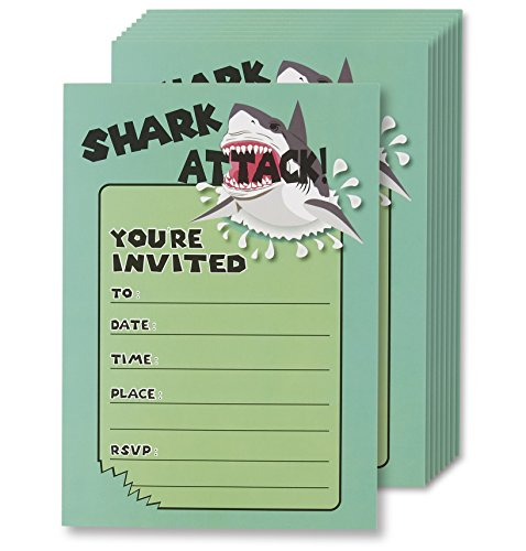 Shark Attack Invitation Cards - 24 Fill-in Invites with Envelopes for Kids Birthday Bash and Theme Party, 5 x 7 inches, Postcard Style -