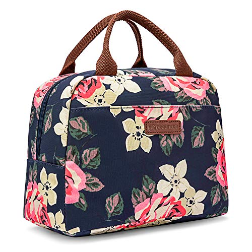 Good Habit Insulated Lunch Bag Cooler for Women and Girls | Fashionable Black Floral Lunch Box | Soft Leak Resistant | Work/School/Picnic/Beach/Boating