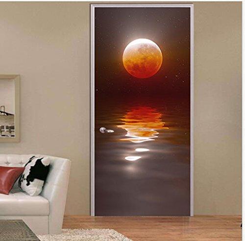 FLFK 3D Moon Door Wallpaper Murals Wall Sticker Decals for Home Bedroom Decor 30.3×78.7 (MT020)
