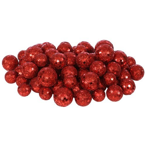 - 72ct Red Sequin and Glitter Christmas Ball Decorations 0.8