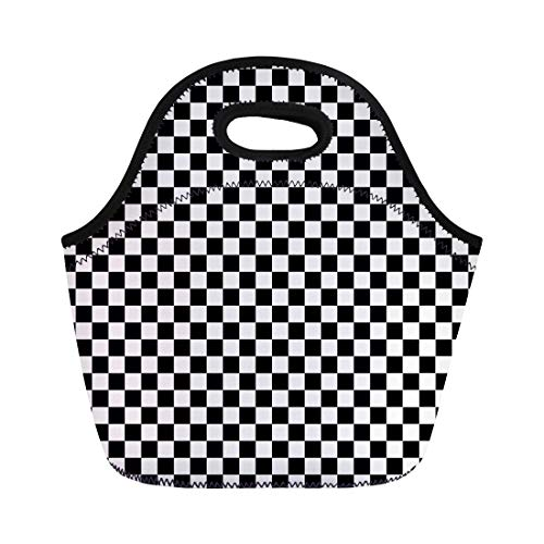 Semtomn Neoprene Lunch Tote Bag Checker Checkered Race Stripe Board Pattern Chessboard Floor Checkerboard Reusable Cooler Bags Insulated Thermal Picnic Handbag for Travel,School,Outdoors,Work