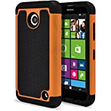 Nokia Lumia 630 Case, Nokia Lumia 635 Case, MagicMobile [Dual Armor Series] Durable [Impact Shockproof Resistant] Double Layer Cover [Hard Shell] + [Flexible Silicone] Case for Nokia Lumia 630 / 635 - Black - Orange
