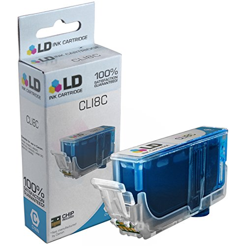 LD Compatible Replacement for Canon CLI8C (0621B002) Cyan Ink Cartridge for use in Canon PIXMA iP4500, iP6600D, iP6700D, iP4300, Pro 9000 Mark II, MP970, Pro 9000, MP800, MP960, & More