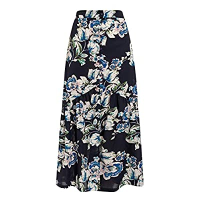 BerryGo Women's Boho Floral Ruffle Maxi Skirt High Waist Long Skirt with Slit at Women's Clothing store