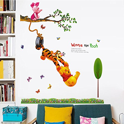 Pooh Mural - Tree clouds and Winnie the Pooh Peel and Stick Wall Decals Stickers for Children & Kids & Baby & Nursery Wall Art Room Decor (Tree clouds and Winnie the Pooh)