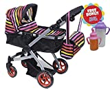 Exquisite Buggy, Doll Pram Stroller with Colorful Stripe and Swiveling Wheels & Adjustable Handle With Carriage Bag With 2 Bonus FREE Magic Bottles Included
