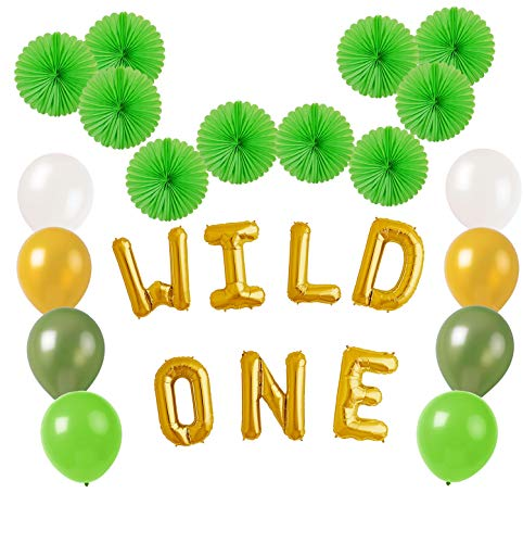 Wild One Balloons Banner Birthday Decorations Party Supplies for 1st birthday Boy Girl Safari Jungle Theme Party Supply