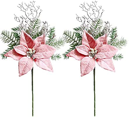 Amazon Com Elyjhyy 2pcs Artificial Frosted Flocked Snow Forest Pine Branches Pick With Poinsettia Flowers Christmas Tree Red Home Kitchen