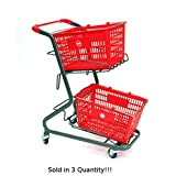 3 New Retail Shopping Cart Hand-held Shopping Baskets Holds Upto 2 Baskets