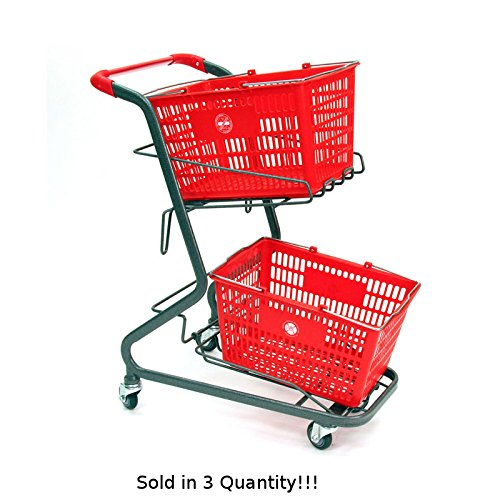 3 New Retail Shopping Cart Hand-held Shopping Baskets Holds Upto 2 Baskets by Store Shopping Cart