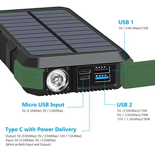 Hiluckey Solar Charger 26800mAh 18W PD USB C Portable Charger with QC 3.0 Waterproof External Battery Pack for iPhone 11, Samsung S10, Huawei, MacBook