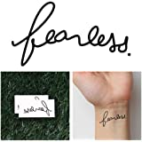 Tattify Fearless Temporary Tattoo - Scared (Set of 2) - Other Styles Available - Premium Quality and Fashionable Temporary Tattoos - Tattoos that are long lasting and Waterproof