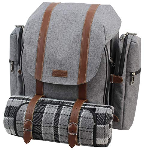 Picnic Backpack for 4 | Picnic Basket | Stylish All-in-One Portable Picnic Bag with Complete Cutlery Set, Stainless Steel S/P Shakers | Waterproof Knitted Picnic Blanket | Cooler Bag for Camping (Bag Set Picnic)