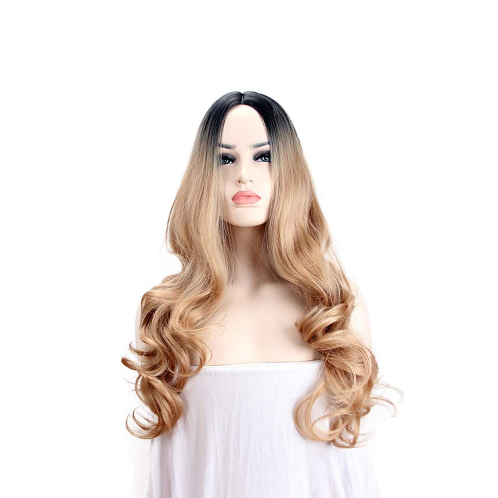 Parrucca Riccia Delle Donne Bionde Moda Naturale Completa Womens Cosplay Party Halloween GH&YY