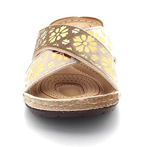 Kvinner Uformell on Lett Beige Flat Slip Komfort Størrelse Sandal Medium Damene London Tå Kilehæl Aarz Sko Åpen Bzf75UWq