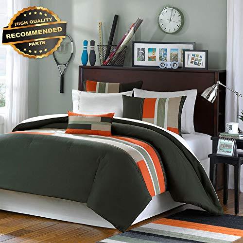 - Gatton Premium New Sporty Orange Green Grey Khaki Boys Stripe Comforter Set Full Queen SZS | Style Collection Comforter-311013003