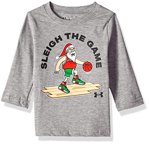 (Under Armour Boys' Baby Long Sleeve Graphic Tee Shirt, True Grey Heather Santa,)