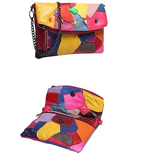 Sibalasi-Women Colorblock Lambskin Leather Multicolor Crossbody Bag Black  Handbag Halloween Skull Studded Purse( 130bab53fa9b6