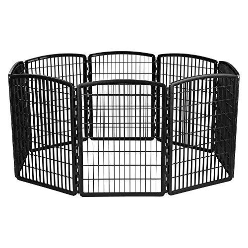 - IRIS 34'' Exercise 8-Panel Pet Playpen without Door, Black