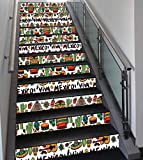Stair Stickers Wall Stickers,13 PCS Self-adhesive,Mexican Decorations,Viva Mexico with Native Elements Poncho Tequila Salsa Hot Peppers Image,Multi,Stair Riser Decal for Living Room, Hall, Kids Room D